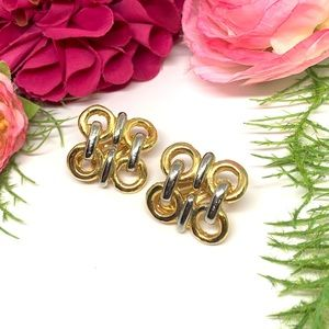 ⚜️VINTAGE Two Tone Chain Link Clip Earrings